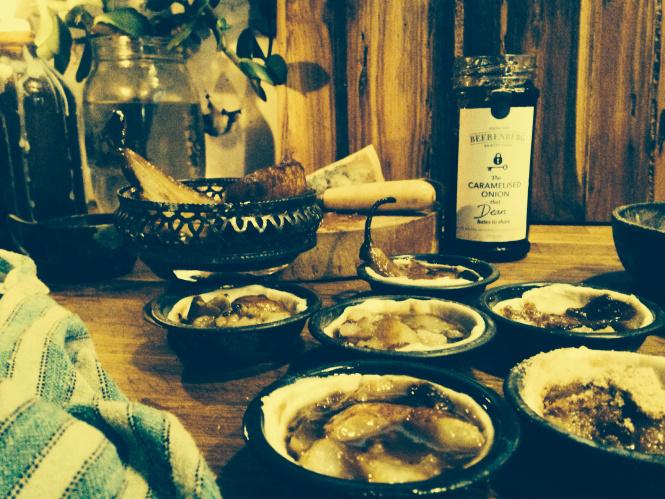caramelised onion and pear tarts